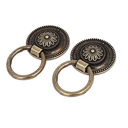 - EbuyChX 38mm Round Base Metal Flower Pattern Pull Humahawak Rings Knobs Bronze Tone 2pcs