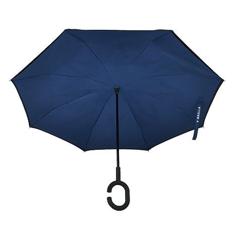 V-BRELLA - paraguas invertido, doble capa con mango antideslizante recubierto de goma (