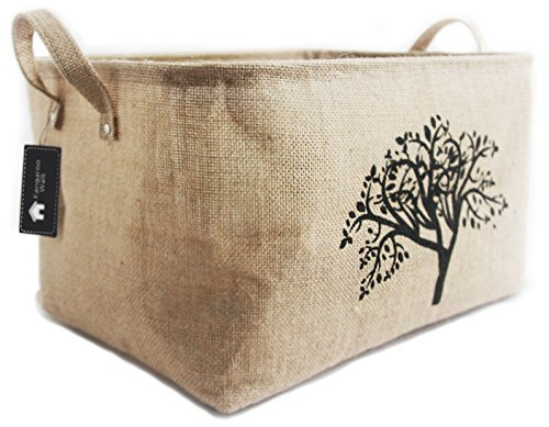 Kangaroo Walk Jute Storage Basket Collapsible Burlap Storage Bin for Toys, Baby Items, Laundry, Clothes Lovely on Shelves or Anywhere in Home Organize with Elegance (Tree)]()