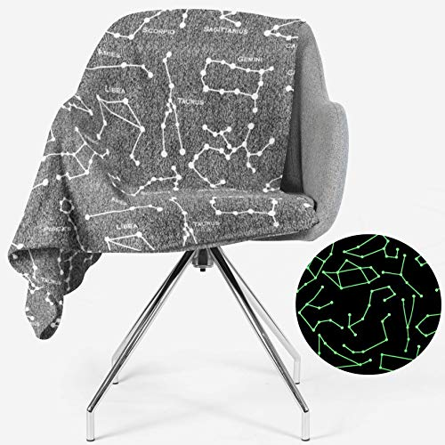 Constellation Blanket Glow in The Dark | All Zodiac Horoscope Signs in The Galaxy | Gift for Solar, Star, Astronomy, Astrology & Astronaut Lovers | Space Theme Decor | Men, Women, Teen, Boys & Girls