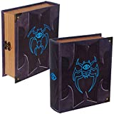 Grimoire Deck Box, Cipher| Large Wooden Spellbook Style Fabric Lined Deck or Cube Box for MTG, YuGiOh, and Other TCG | 1000+ Card Capacity