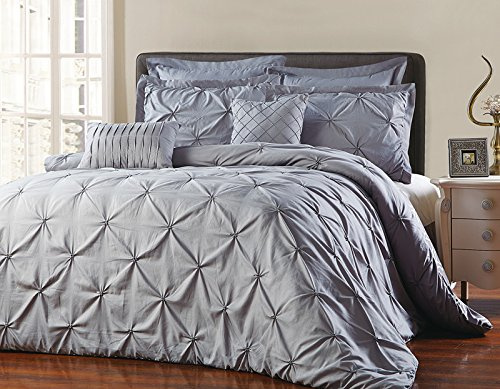 Unique Home 8 Piece Reversible Pinch Pleat Comforter Set Fade Resistant, Wrinkle Free, No Ironing Necessary, Super Soft, King, Grey - bedroomdesign.us