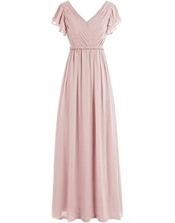 Lafee Bridal Cap Sleeve V-Neck Chiffon Bridesmaid Dress Long Evening Party Dress