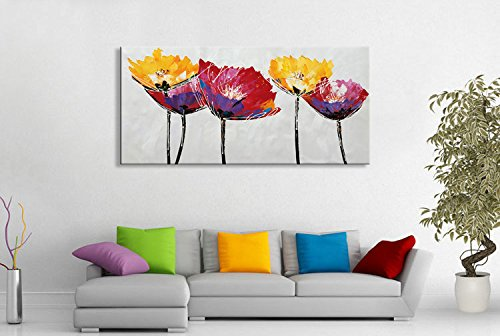 Seekland Art Hand Painted Modern Large Flower Oil Painting on Canvas Abstract Wall Art Colorful Floral Decor Hanging Contemporary ArtworkStretched (Framed 56''W x 28''H) by Seekland Art
