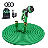 HOUSE DAY 100FT Expandable Garden Hose,3/4'' Solid Brass Fittings,Flexible Water Hose,9-Function Spray Nozzle,Hose Holder(Green)