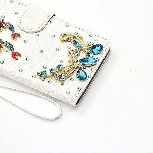 Vandot 3 in1 Teléfono Accesorios - práctica y chic Funda para Samsung Galaxy J5 Caso de la Cubierta Protectora de la PU Piel Cubierta de la Caja Standing SoporteFunda de piel imán Glitter mariposa But Design 7
