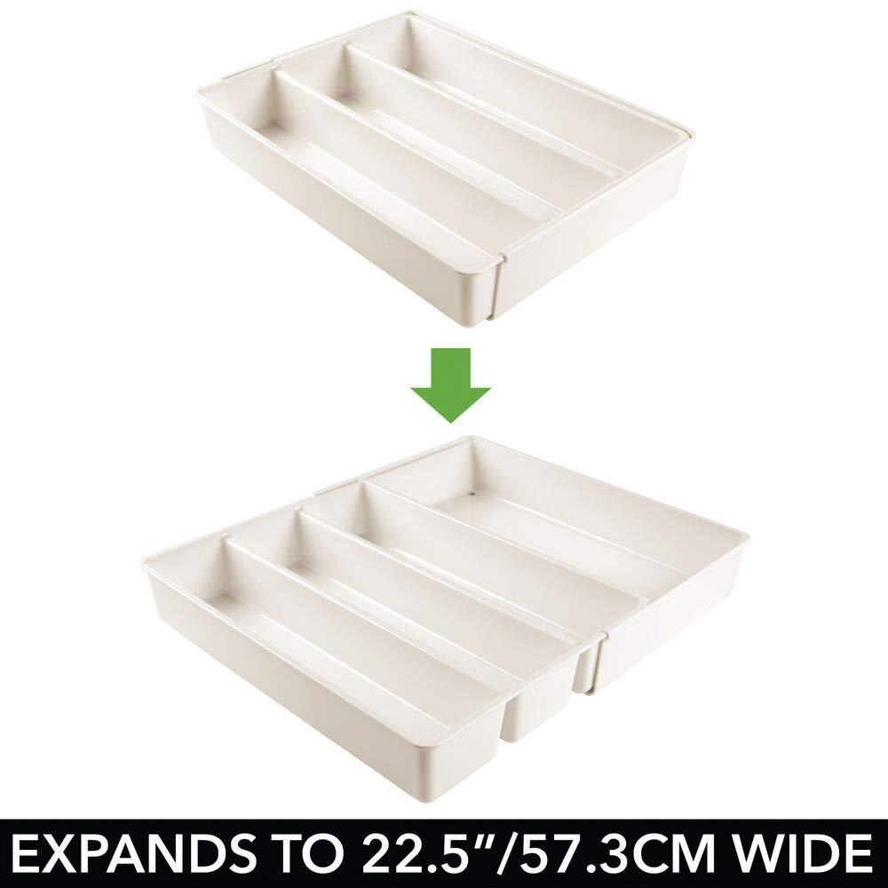 mDesign ausziehbarer Besteckkasten durchsichtig der ideale Schubladen-Organizer f/ür die K/üchenschublade Besteckeinsatz f/ür K/üchenutensilien jeglicher Art 4 Flexible F/ächer