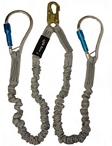 Elk River 35416 Flex-NoPac Energy-Absorbing 2 Leg Polyester Web Lanyard with Zsnaphook and Aluminum Carabiner, 3600 lbs Gate, 6' Length x 1-1/2'' Width by Elk River