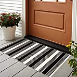 USTIDE 2'x3' Cotton Printed Area Rug Black&White Striped Stripe Doormat Perfect for Front Door Porch Outdoor Rug.