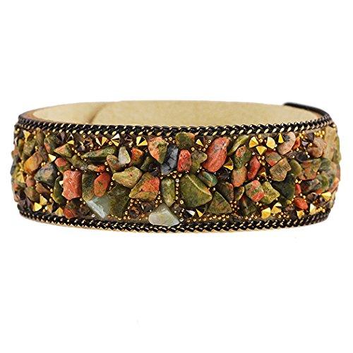 Dog Brother Womens Brown Crushed Natural Crystal Multicolored Bangle Bracelet Paris Fashion Model Show Bracelet