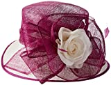 Scala Women's Two Tone Sinamay Hat with Flower, Fuchsia/Ivory, One Size