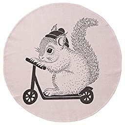 Bloomingville Blush Cotton Rug with Squirrel On Scooter
