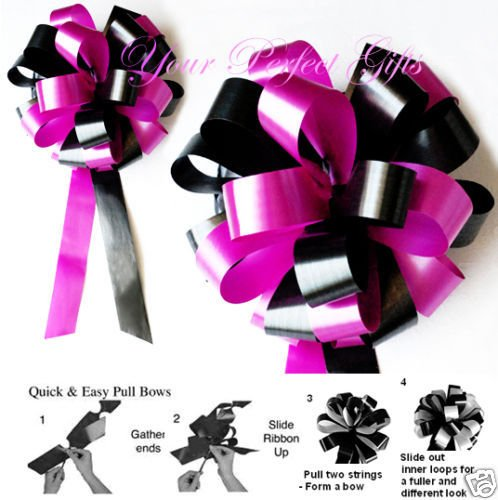 SALE 30 pcs 8'' FUCHSIA PINK BLACK WEDDING PEW BOW BRIDAL DECORATION PB036 by your_perfect_gifts