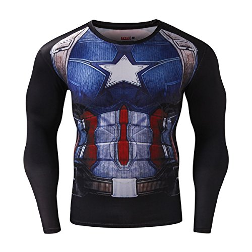Red Plume Men's Compression Sports Shirt Captain US Skin Clothes Running Long Sleeve Tee (L, Captain) ()
