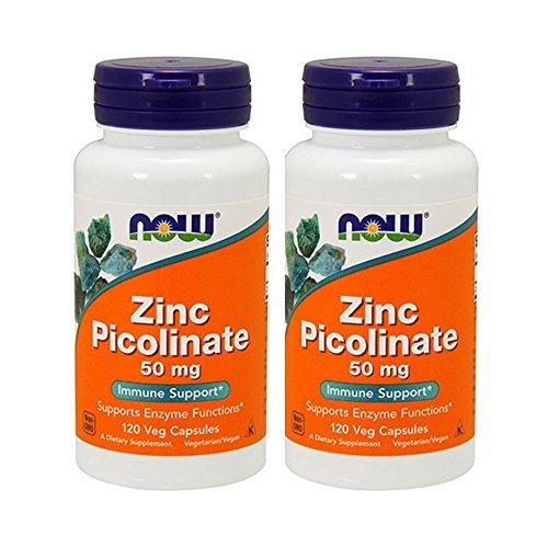 Caps 120 Zinc (NOW  Zinc Picolinate 50mg,120 Capsules  (Pack of 2))