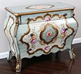 """Oliver and Smith - French Parisian Collection - Solid Wood Antique Accent Bombay Chest Dresser - Sky Blue Delicate Flowers - 3 Drawer Cabinet - 99257 - 34.5"""" W x 29"""" H x 17"""" D"""