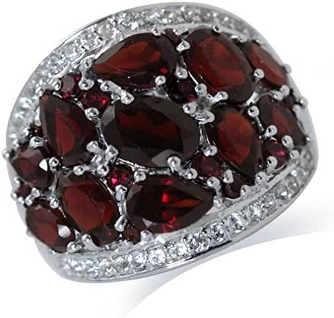 5.66ct. Natural Garnet & Topaz White Gold Plated 925 Sterling Silver Cluster Cocktail Ring