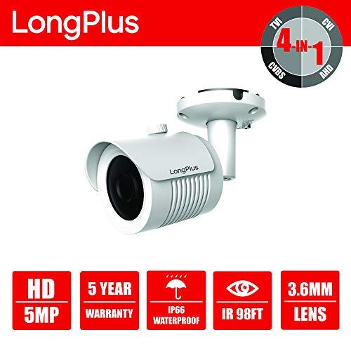 LongPlus HD-TVI 5MP 4-in-1 CCTV Home Surveillance IP66 Weatherproof IR Cut Bullet Security Camera, White (LPHDC5MBM)