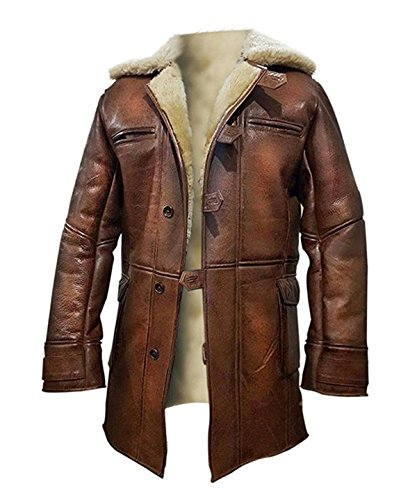 - Spazeup Bane Dark Knight Rises Tom Hardy Shearling Winter Ginger Brown Trench Leather Coat