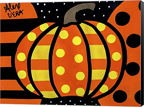 Halloween Pumpkin by Alex Vera Canvas Art Wall Picture, Museum Wrapped with Black Sides, 24 x 18 inches -