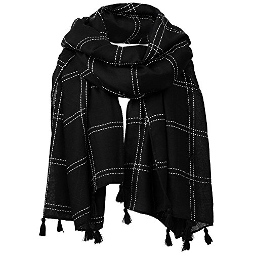 FITIBEST Women Linen Scarf Fashionable Plaid Shawl Winter Long Scarves with Tassels (Black Linen Scarf)