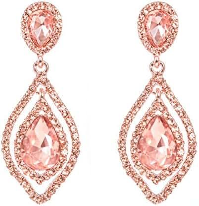 NLCAC Pear Shape Earrings Tear Drop Rose Gold Earrings Pink Crystal Earrings Large Pierced Peach Earring Dangle Champagne Wedding Jewelry for Bride