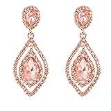 NLCAC Rose Gold Teardrop Crystal Earrings Dangle