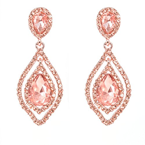 NLCAC Rose Gold Teardrop Crystal Earrings Dangle Long Rhinestone Chandelier Earring Wedding Jewelry for Bride