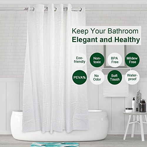 Shower Curtain Hookless, Water Repellent Shower Curtain Liner Mildew Resistant Washable PEVA Shower Stall Curtain with Shower Curtain Splash Clips for Bathroom Hotel Spa 72x74 inch by Goodears (Image #1)