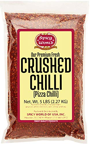 Spicy World Crushed Pepper Chilli Flakes, Red, 5 Pound ()