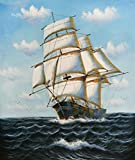 Amazing Paint on Canvas Without Stretch and Without Frame ,Seascape of a Sailing Ship on the Ocean, is the best gift for your relatives, or girl friend and boy friend. That is also for Bar, Basement, Bathroom, Bedroom, Dining Room, Foyer, Gam...