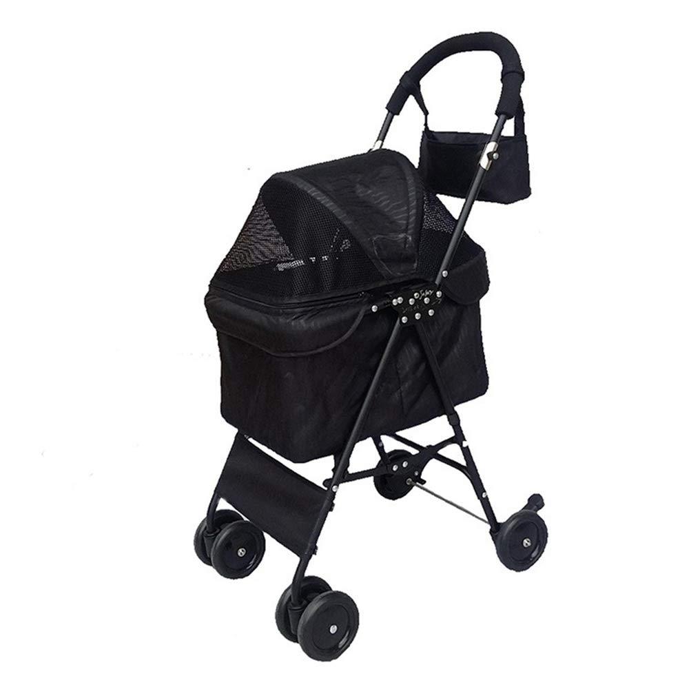 Black LJJYN Lightweight pet stroller Cat cart Folding pet car Pet stroller, black