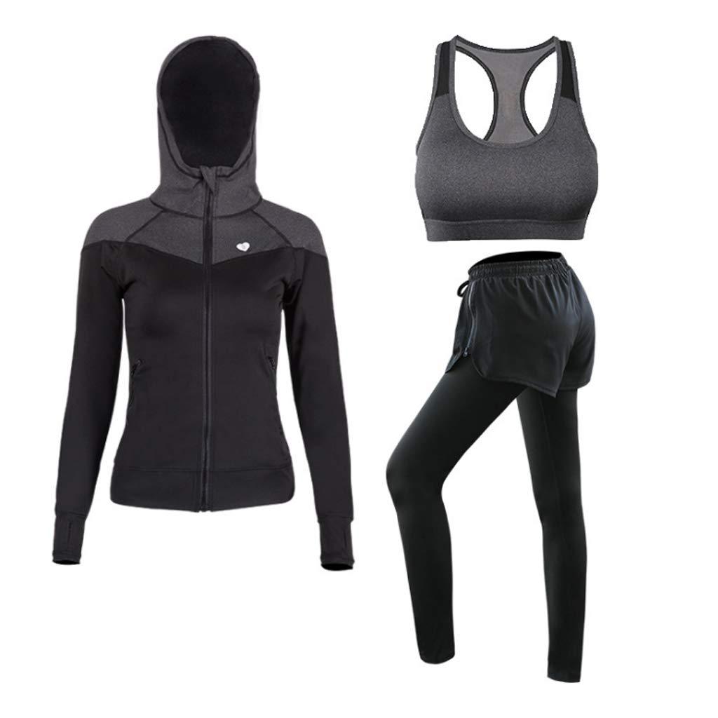 Lilongjiao Yoga-Bekleidung Anzug Laufbekleidung Sportanzug Strumpfhosen Schnell trocknend Fitness-Kleidung dreiteiliger Sport-BH Yoga-Kleidung Lässige Sportswear