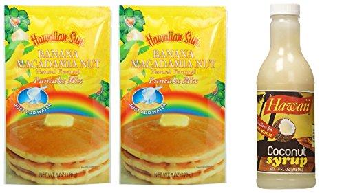 Hawaiian Coconut Syrup & Hawaiian Sun Banana Macadamia Nut Pancake Mix - Hawaiian Breakfast!! Inc (1) Syrup & (2) Pancake ()