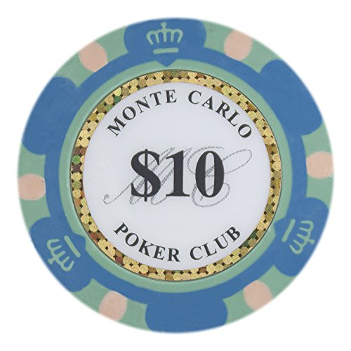 Brybelly Monte Carlo Premium Poker Chip Heavyweight 14-gram Clay Composite - Pack of 50 ($10 Blue) (Poker Clay Vegas Las)