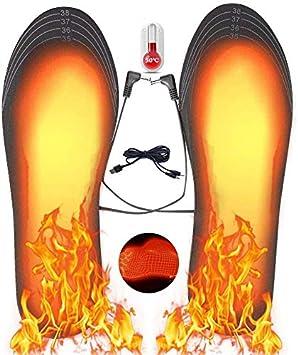 Plantillas Calefactables con Mando a Distancia Puede Cortar El/éctrica Calefacci/ón Inverno Suelas Calentables Hombre Mujer Calentadores de Pies Carga USB Plantillas Pies Climatizada Plantillas