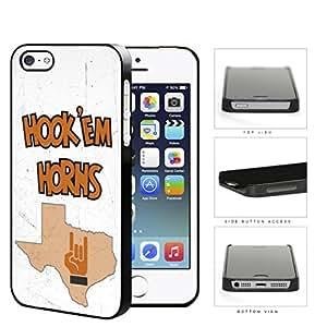 Hook Em Horns School Spirit Slogan Chant iPhone 5 5s Hard Snap on Plastic Cell Phone Cover