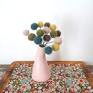 Woodland Felt Flowers - Pom pom Flowers - Teal, Blush, Mustard, Taupe, Moss Yarn Pom - Needle Felt Wool - Woolly Head, Billy Ball, Craspedia 55