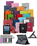 Samsung Galaxy Tab 2 7 inch GT P3100 P3110 Tablet 360° Rotating Swivel Executive PU Leather Folio Case Stand Cover with Retractable Stylus Touch Pen and Screen Protector - White with Black Polkadot