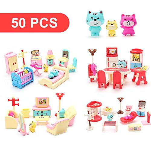 50 Pack Kids Little Dollhouse Furniture Toys House, used for sale  Delivered anywhere in USA