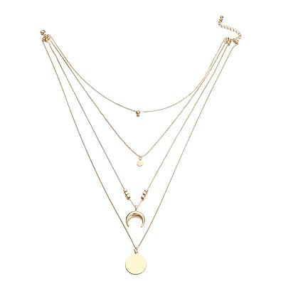 0652d87391a3 1pc Moda Bohemia multi-capa Luna Wafer colgante collar de oro collar de  cadena larga gargantilla para mujeres Nan  Amazon.es  Joyería