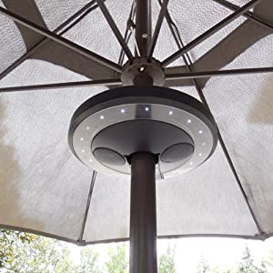 Awesome PATIO UMBRELLA BLUETOOTH SPEAKER WITH LED LIGHTS