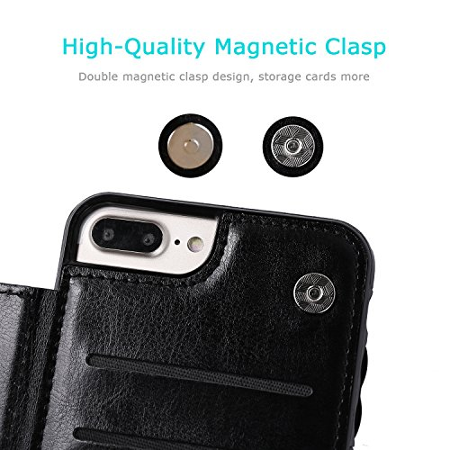 iPhone 7 Plus iPhone 8 Plus Wallet Case with Card Holder, OT ONETOP Premium PU Leather Kickstand Card Slots Case,Double Magnetic Clasp and Durable Shockproof Cover 5.5 Inch(Black) by OT ONETOP (Image #5)