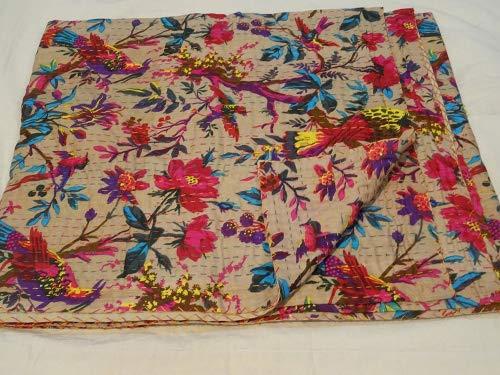 Tribal Asian Textiles Bird Print King Size Kantha Quilt Wage Kantha Blanket, Bed Cover, King Kantha Bedspread, Bohemian Bedding Kantha Size 90 Inch X 108 Inch