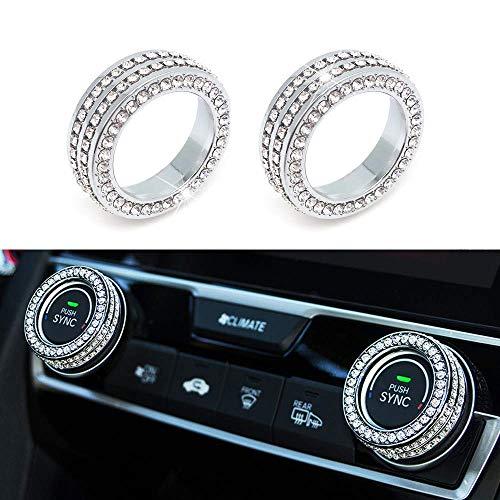 Senauto 2pcs Bling AC Climate Control Ring Knob Cover for Honda Civic Air Conditioning Switch HVAC Heater Adjust Knob Button Cover Trim Ring Honda Civic Sedan Coupe Hatchback 2016 2017 ()