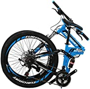 Folding Mountain Bike for Adults 26 Inch Wheels 21 Speed Dual Disc Brakes Full Suspension Foldable Bikes Mens