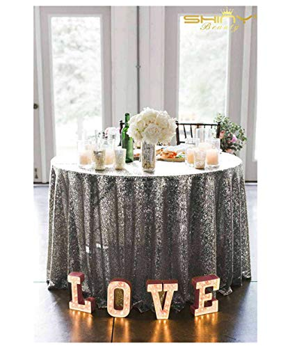 ShiDianYi Gunmetal Sequin Tablecloth Round 108Inch Table Clothes Great Gatsby Decorations ~0919S