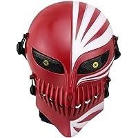 Airsoft máscara de cara completa con malla de Metal Protección de los ojos para Paintball CS juego de guerra/Halloween/Cosplay/Fiesta, Rojo