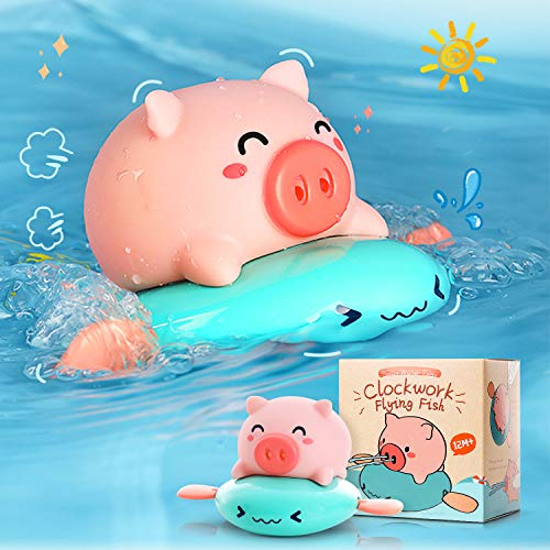 Wind Up Pull and Go Swimming Water Spray Bathtub Pool Squirt Toys for Kids CONDFUL Baby Bathtub Toy Funny Spray Water Piggy Bath Toy for Toddlers