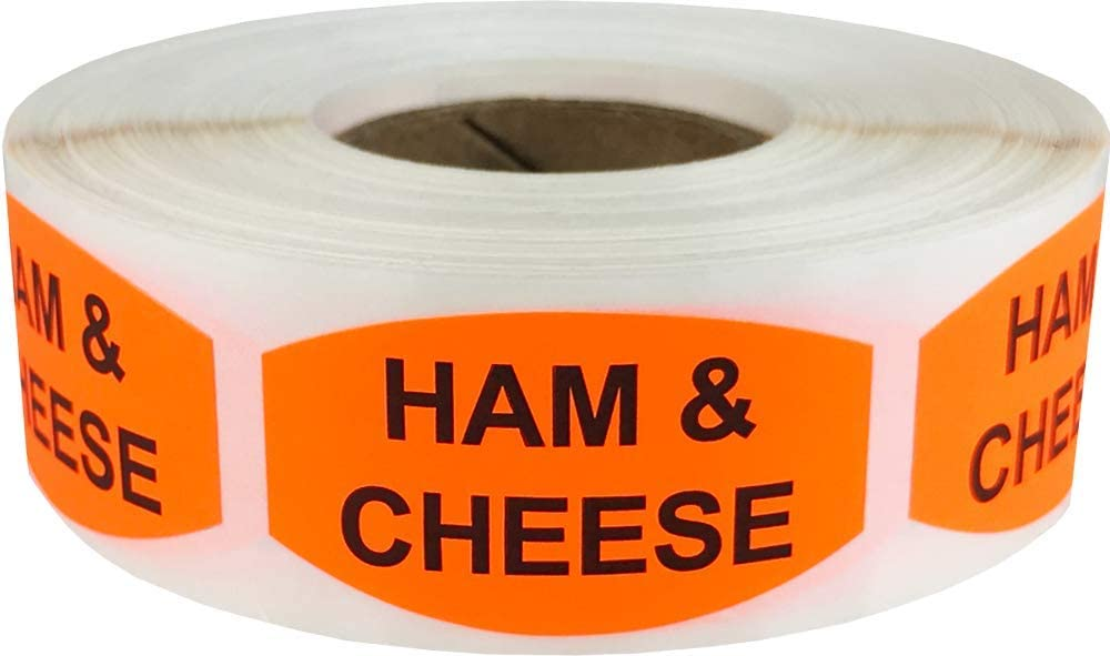 Ham and Cheese Grocery Store Food Labels .75 x 1.375 Inch Oval Shape 500 Total Adhesive Stickers